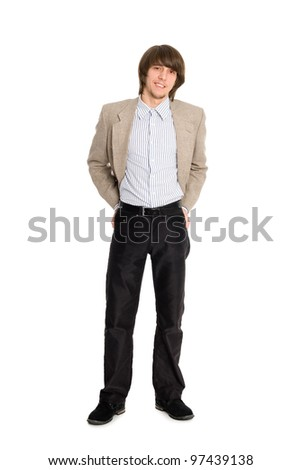 Attractive young man isolated on white background. - stock photo
