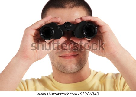 Attractive young man using spyglass. All on white background - stock photo