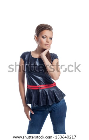 Attractive young model posing in stylish clothes - stock photo