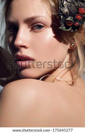 attractive young model with nude make-up - stock photo