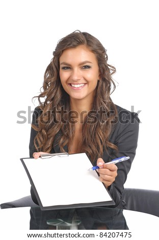 Attractive young questionnaire with a survey - stock photo