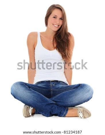 Attractive young woman. All on white background. - stock photo