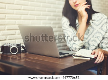 Attractive Young Woman Cafe Concept - stock photo