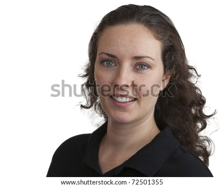 attractive young woman dressed in a black open neck top with long dark hair - stock photo