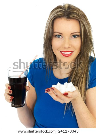 Attractive Young Woman Drinking High Sugar Fizzy Drink - stock photo