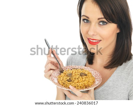 Attractive Young Woman Eating Mushroom Rice - stock photo