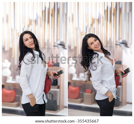 Attractive young woman fashion shot in mall. Beautiful fashionable young lady in white shirt in shopping area. Casual long hair brunette posing in front of show window with clothes and accessories - stock photo