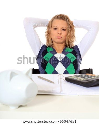 Attractive young woman finished her housekeeping budgeting. All on white background. - stock photo
