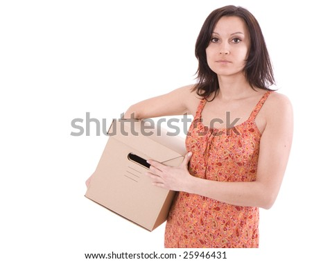 attractive young woman  from dark hair with cardboard box - stock photo