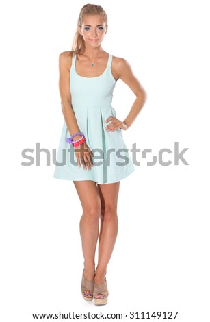 Attractive young woman full length portrait isolated on white background - stock photo