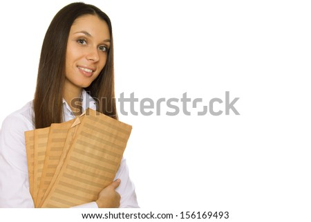 Attractive young woman holding sheet music old sheet. Isolated - stock photo