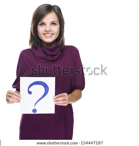Attractive young woman in a red dress. Holds a poster with a big question mark. Isolated on white background - stock photo