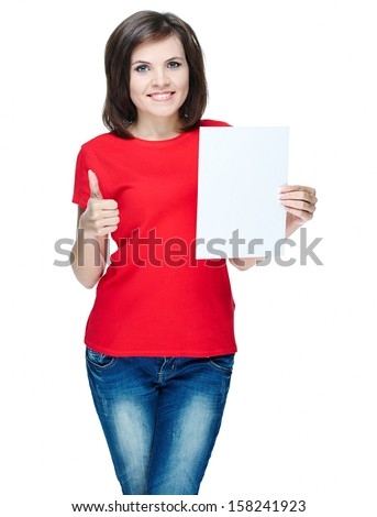 Attractive young woman in a red shirt. Holds a poster and showing thumbs up. Isolated on white background - stock photo