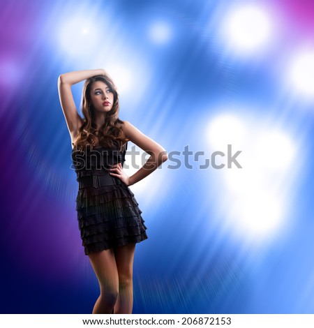 attractive young woman in summer outfit - stock photo