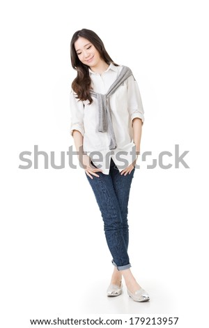 Attractive young woman of Asian, full length portrait isolated on white background. - stock photo