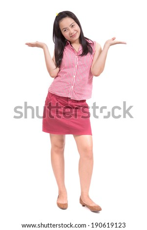 Attractive young woman of Asian standing, full length portrait isolated on white background - stock photo