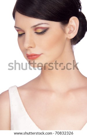 Attractive young woman portrait, with eyes closed. Multicolor make up. - stock photo