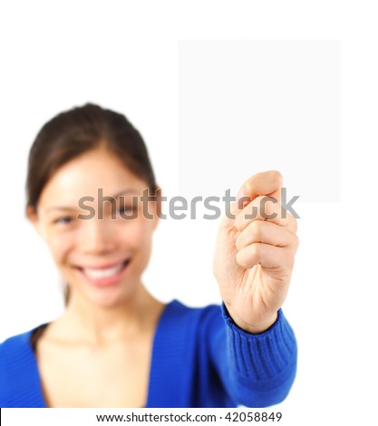 Attractive young woman showing a business blank card. Isolated on white background. - stock photo