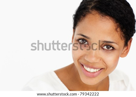Attractive young woman smiling - stock photo