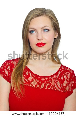attractive young woman teenager making expression, curious - stock photo