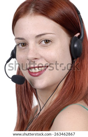 Attractive young woman, telephone headset, call center - stock photo