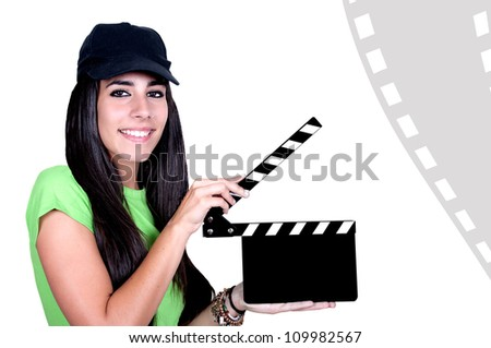 Attractive young woman using slate. All on white background. - stock photo
