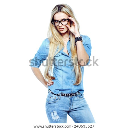 Attractive young woman wearing glasses - stock photo