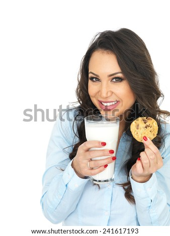 Attractive Young Woman With a Glass of Milk and Biscuit - stock photo