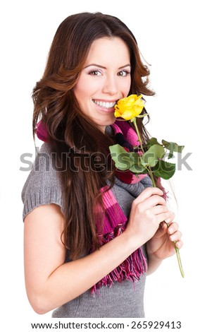 attractive young woman with a rose on isolated background - stock photo
