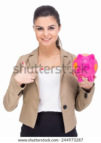 Attractive young woman with moneybox isolated on a white background. - stock photo