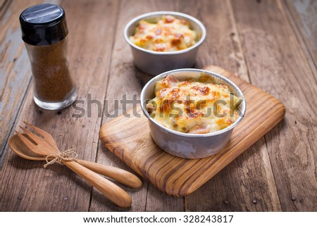 Au Gratin cheese pasta - stock photo