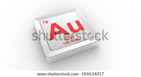Au symbol 79 material for Gold chemical element of the periodic table  - stock photo