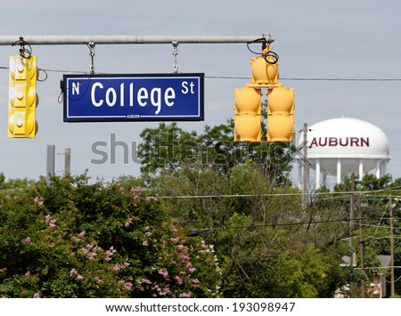 AUBURN, AL � JUNE 17: A view of North College Street with the Auburn University water tower in the background on June 17, 2012. Auburn University is a public University located in Auburn, Alabama. - stock photo
