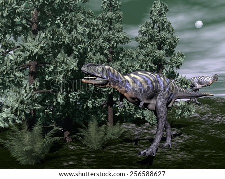 Aucasaurus dinosaur running among wollemia trees and onychiopsis plants by night - 3D render - stock photo