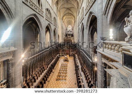 AUCH, FRANCE - JUNE 09 2015: Sainte Marie Church in Gers, Languedoc-Roussillon-Midi-Pyrenees, Southern France. - stock photo