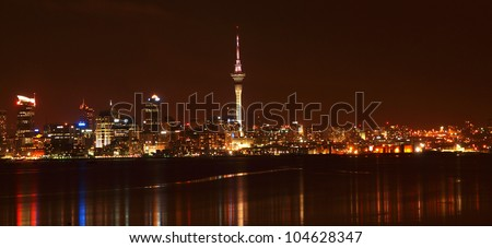 Auckland at night - stock photo