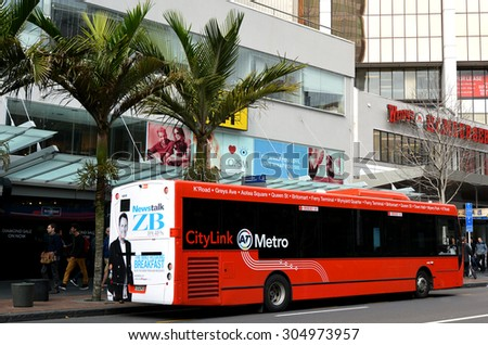 AUCKLAND -  AUG 06 2015:Auckland CityLink bus in Auckland New Zealand.With a fleet of over 500 buses, Metrolink services AucklandÃ??s isthmus community and provides over 18 million trips a year. - stock photo
