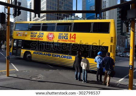 AUCKLAND - AUG 08 2015:Auckland Hop On Hop Off Explorer tour bus. It is a popular all day sightseeing tour bus visiting Auckland's Big 14 Attractions with full commentary. - stock photo
