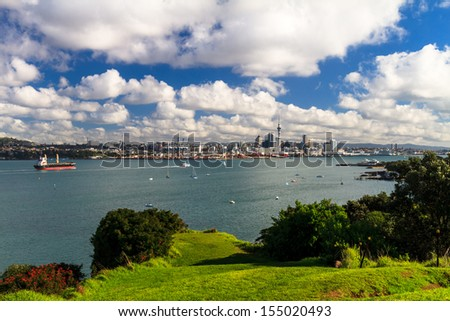 Auckland CBD and Waitemata Harbour from Devonport, New Zealand - stock photo