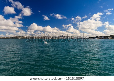 Auckland CBD from Devonport, New Zealand - stock photo