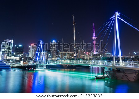Auckland City and Sky Tower at Night, Auckland, New Zealand  - stock photo