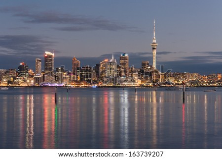 Auckland cityscape at night - stock photo