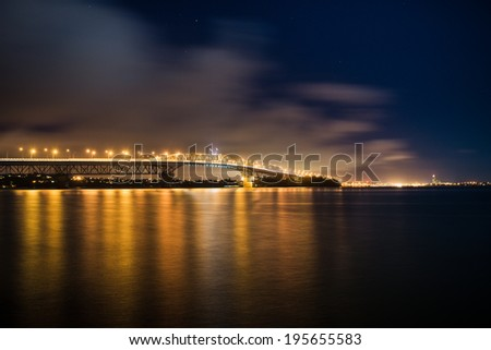Auckland Harbour Bridge at night  - stock photo