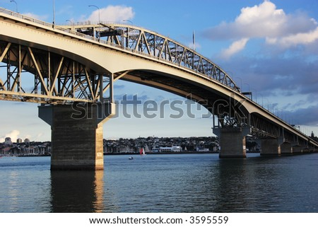 Auckland Harbour Bridge on blue day, New Zealand - stock photo