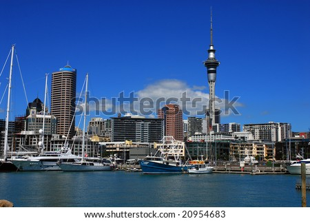 AUCKLAND: 23 March 2007 - Auckland city is New Zealand's largest and home to around one million people.  Harbour and city skyline on 23 March 2007 in Auckland, New Zealand. - stock photo