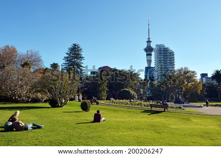 AUCKLAND - MAY 31 2014:Visitors in Albert park.Albert Park is a famous scenic park in central Auckland, New Zealand. - stock photo