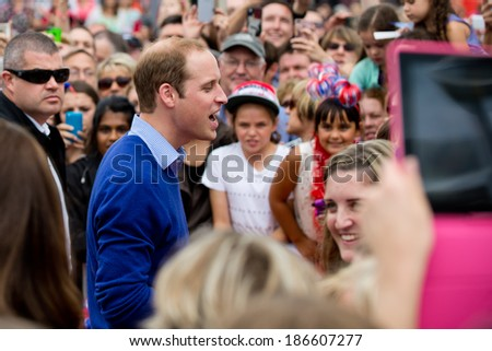 AUCKLAND, NEW ZEALAND - APRIL 11: Prince William greeting crowds in Auckland�s Viaduct Harbour as part of the Royal New Zealand tour on April 11, 2014 in Auckland, New Zealand. - stock photo