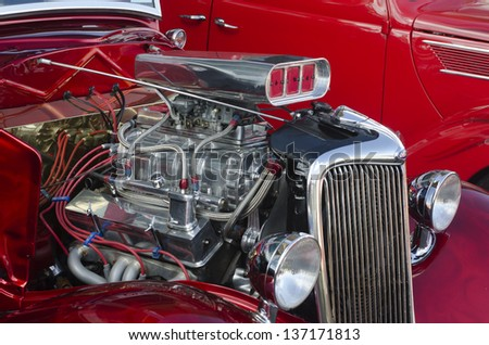 AUCKLAND, NZ - APRIL 25:A 1936 Red Ford Classic Car on April 25 2013 in Auckland, New Zealand.In NZ there are more then 13,000 vintage classic cars in immaculate condition. - stock photo
