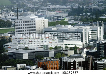AUCKLAND,NZ - OCT 08:Aerial view of Auckland City Hospital on Oct 08 2013.The Auckland City Hospital is Auckland's main hospital and the largest hospital in New Zealand - stock photo