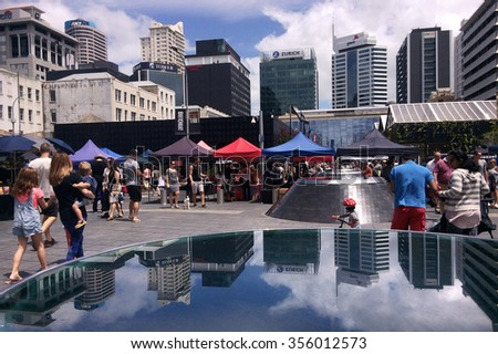 AUCKLAND,  NZL - DEC 12 2015:Auckland City Farmers Market.Auckland is the business capital of New Zealand and the largest and most populous urban area in the country. - stock photo